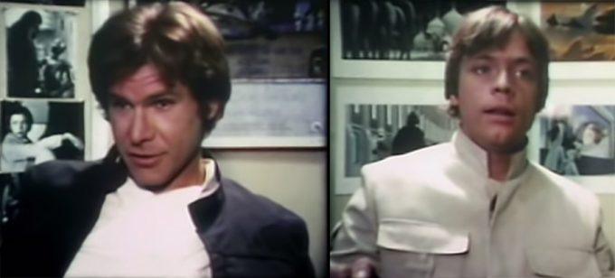 Harrison Ford e Mark Hamill no making of de O Império Contra-Ataca dirigido por Michel Parbot