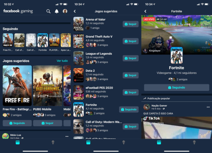Facebook Gaming no iPhone / streaming