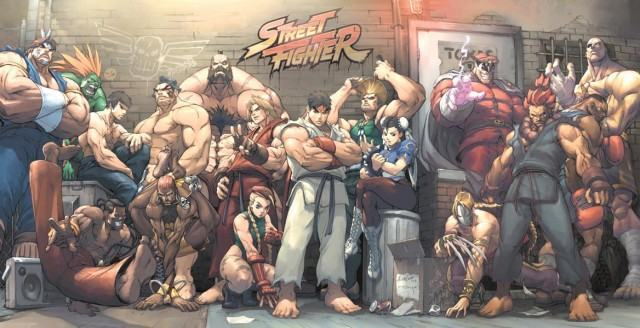 Arte com personagens de Street Fighter.