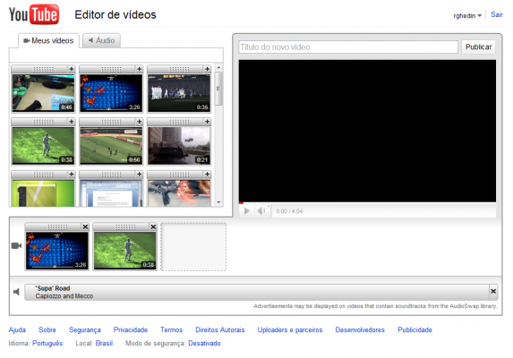 Editor de vídeos do YouTube.