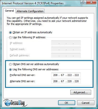 Configurando a OpenDNS em cada PC individualmente (Windows Vista)
