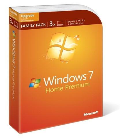 Windows 7 Family Pack: 3 licenças do Home Premium.