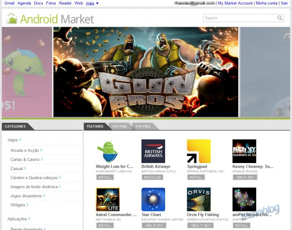 Captura de tela do novo Android Market Web Store