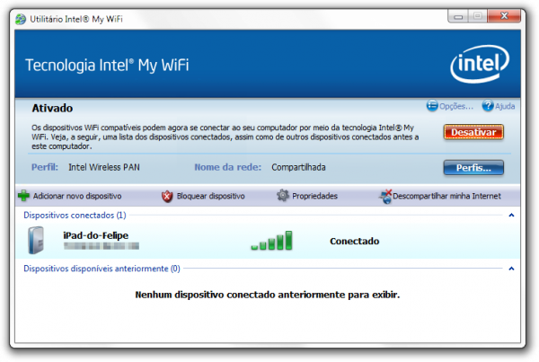 Utilitário Intel My WiFi