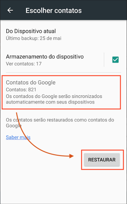 Restaurar Contatos Android