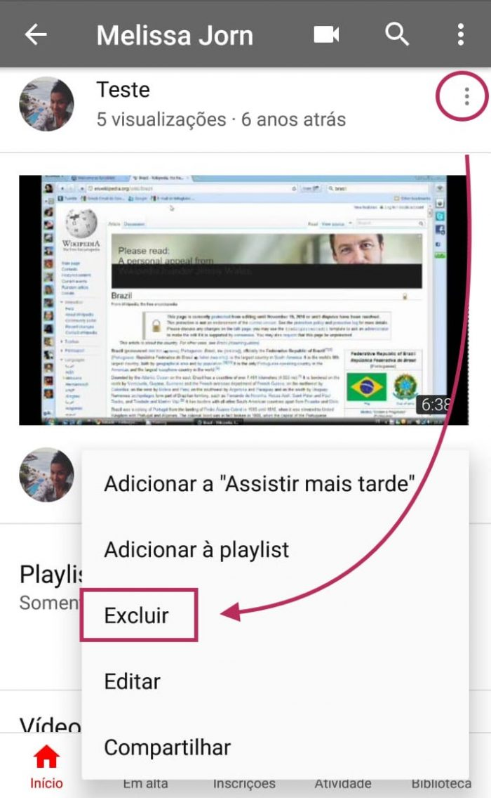 Excluir Video do YouTube no Android