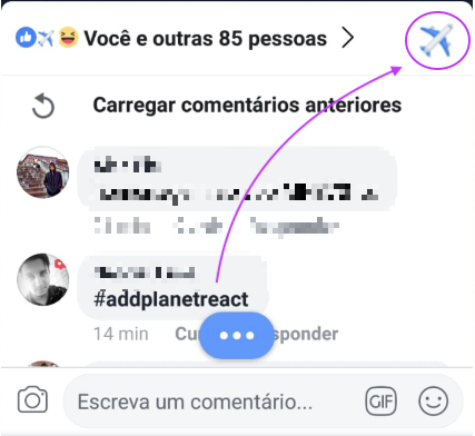 Como reagir com aviao no Facebook