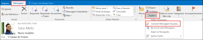 cancelar email outlook