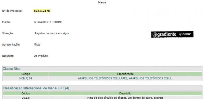 Registro da marca G Gradiente iphone no INPI