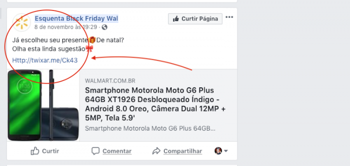 Post de Página Falsa Black Friday Walmart