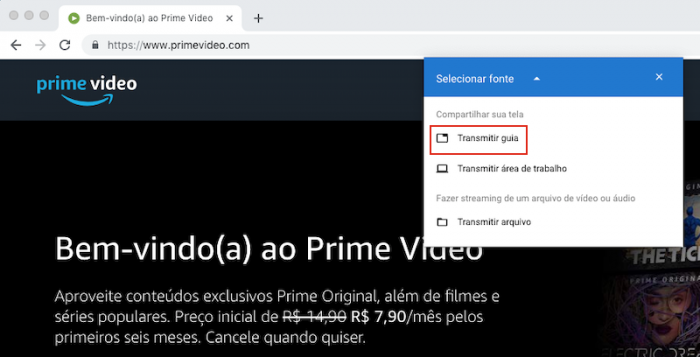 Amazon Prime Video Google Chrome Transmitir
