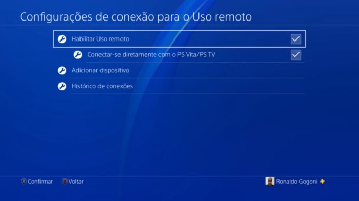 Configurações do PS4 / PS4 Remote Play