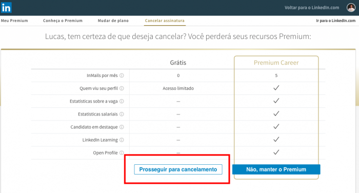 captura de tela sobre como cancelar assinatura do linkedin premium