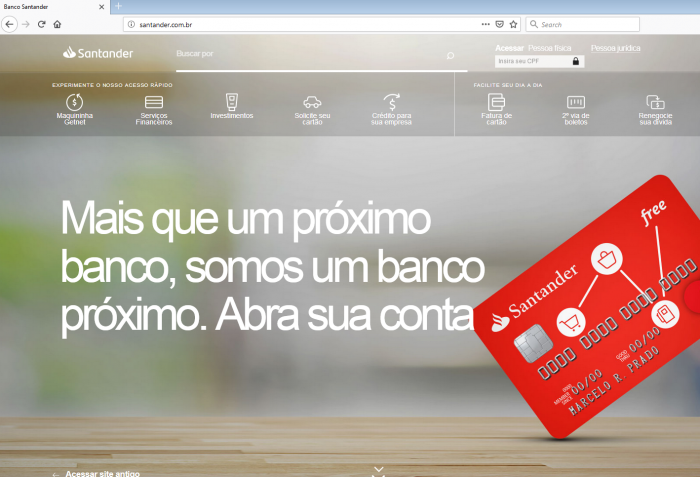 Site falso do Santander