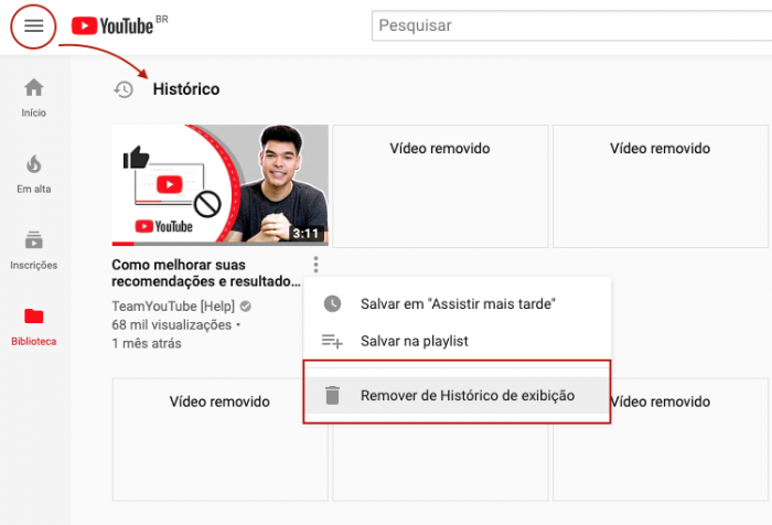 Historico de Videos do YouTube