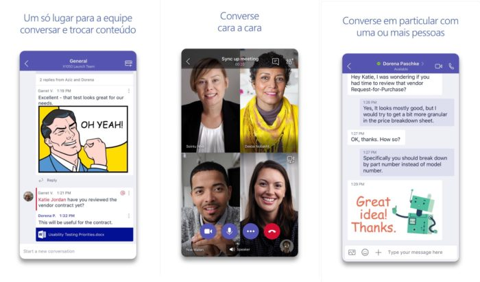 telas do aplicativo do Microsoft Teams para iOS