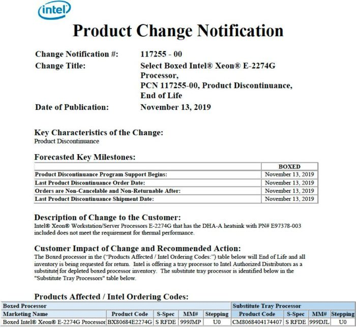 Comunicado da Intel para recall do Xeon E-2274G