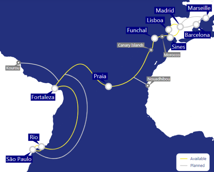 Ellalink: mapa do cabo submarino