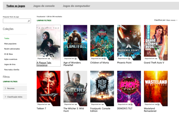 biblioteca do xbox game pass