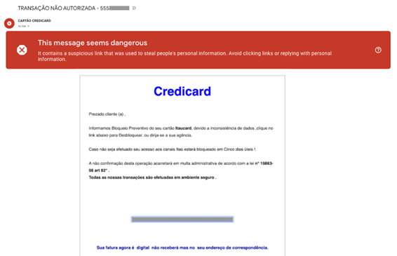 Golpe do Credicard no Gmail