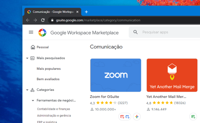 Add-on do Zoom no Google Workspace (Imagem: Felipe Ventura/Tecnoblog)