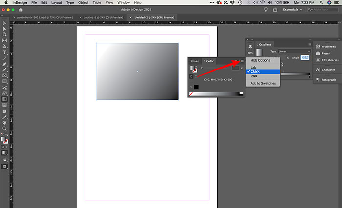 Habilitando cores gradiente no InDesign