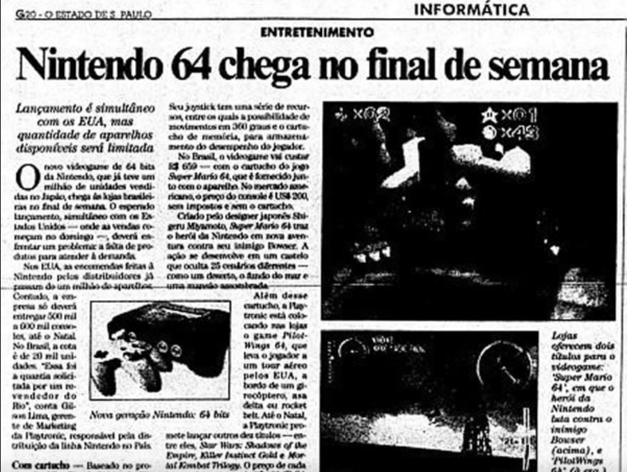 Report with the arrival of the Nintendo 64 in Brazil (Image: Reproduction / The State of São Paulo)