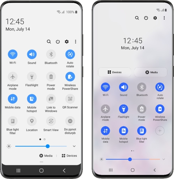 One 2.x UI on left, one 3.0 UI on right (image: public / Samsung)