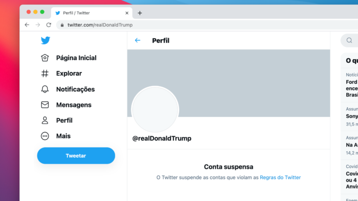 @RealDonaldTrump account has been banned (Image: Reproduction / Twitter)